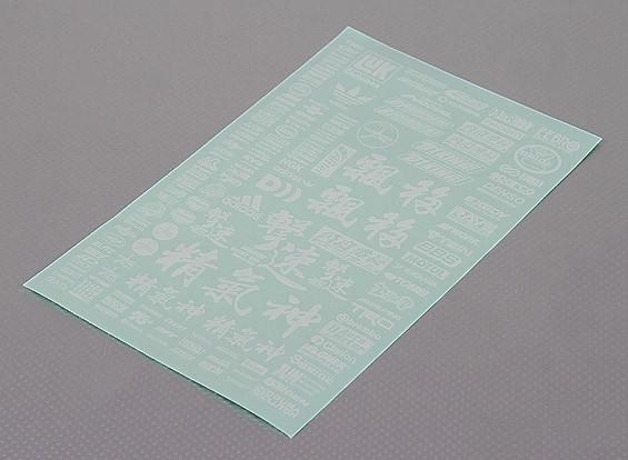 不干胶贴纸片 - 字符1/10量表(白色)