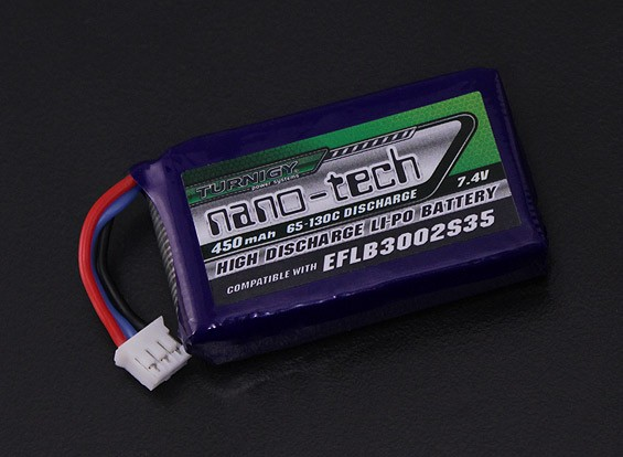Turnigy纳米技术450mAh 2S 65C前列(E-FLITE兼容 - 刀片130X EFLB3002S35)