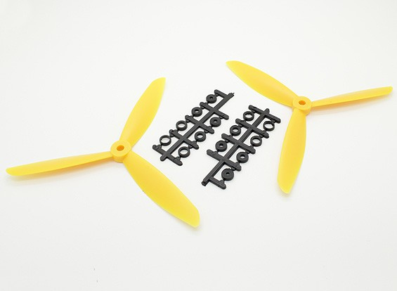 Hobbyking™3叶螺旋桨7x4.5黄色(CW / CCW)(2个)