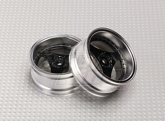 1:10比例轮组(2个)黑色三辐遥控车26毫米