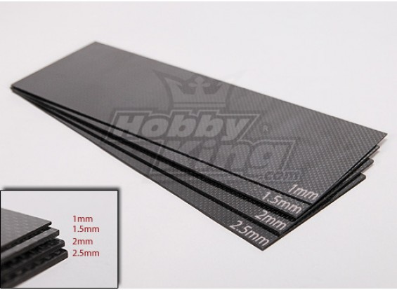 编织碳纤维片材的300x100(2.5毫米厚)