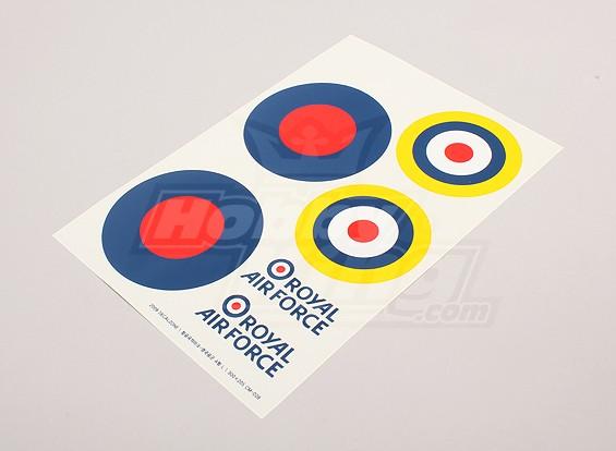规模国家空军徽章贴纸表 - 英国(大B型)