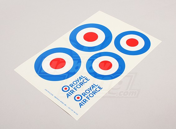 规模国家空军徽章贴纸表 - 英国(大A型)