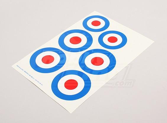 规模国家空军徽章贴纸表 - 英国(A型)
