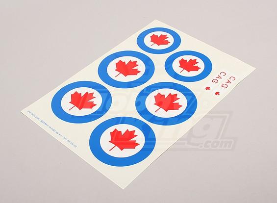 规模国家空军徽章贴纸表 - 加拿大