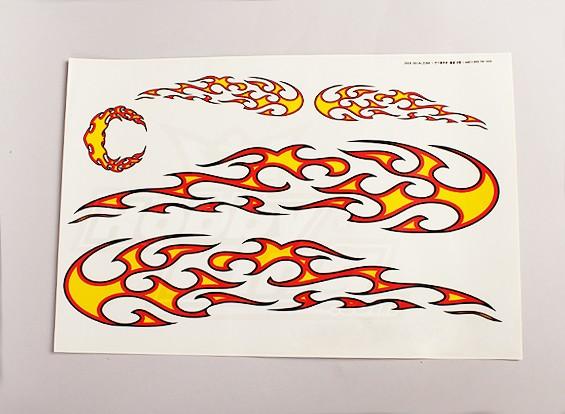 部落火焰贴花纸页大445mmx300mm
