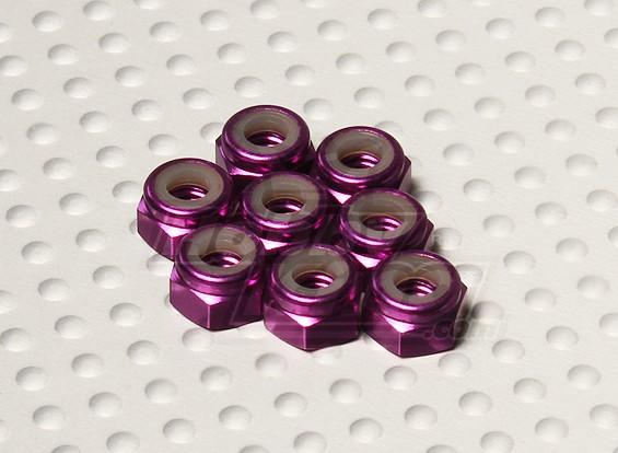 紫阳极氧化铝M4 NYLOCK螺母(8件)