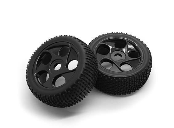 HobbyKing 1/8尺度k规格星式轮辐车轮/轮胎17毫米十六进制(黑色)