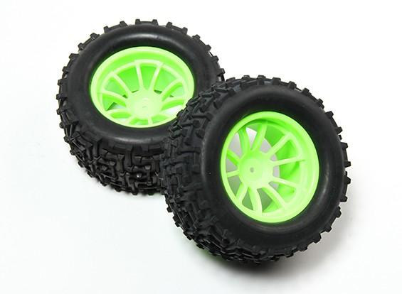 HobbyKing®1/10怪物卡车10辐荧光绿车轮和I-模式轮胎12毫米十六进制(2PC)