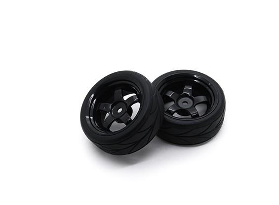 HobbyKing 1/10车轮/轮胎套装VTC 5辐条(黑色)遥控车26毫米(2个)