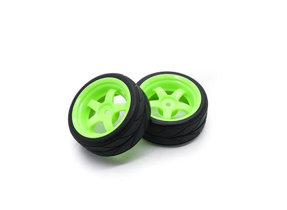 HobbyKing 1/10车轮/轮胎套装VTC 5辐条(绿色)遥控车26毫米(2个)