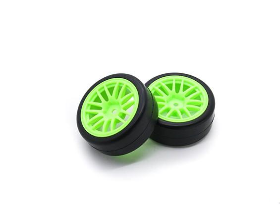 HobbyKing 1/10车轮/轮胎一套Y型轮辐(绿色)遥控车26毫米(2个)