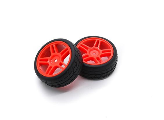 HobbyKing 1/10车轮/轮胎套装VTC星式轮辐(红色)遥控车26毫米(2个)
