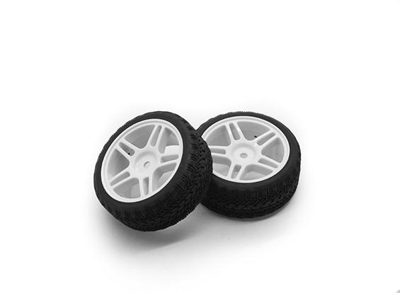 HobbyKing 1/10车轮/轮胎设定AF拉力赛星式轮辐(白色)遥控车26毫米(2个)