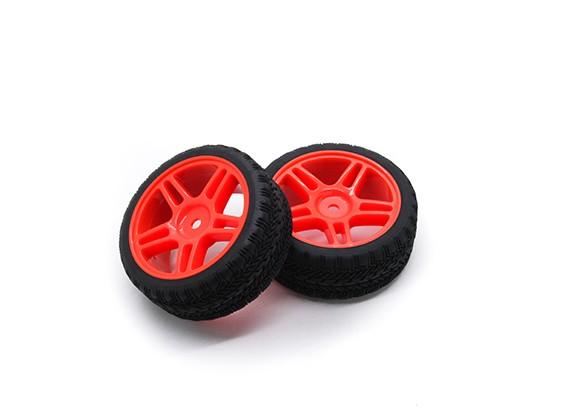 HobbyKing 1/10车轮/轮胎设定AF拉力赛星式轮辐(红色)遥控车26毫米(2个)