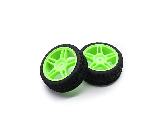 HobbyKing 1/10车轮/轮胎设定AF拉力赛星式轮辐(绿)遥控车26毫米(2个)