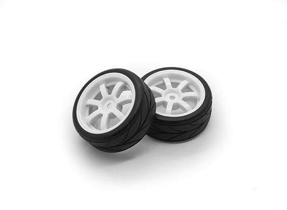 HobbyKing 1/10车轮/轮胎套装VTC 7辐条(白色)遥控车26毫米(2个)
