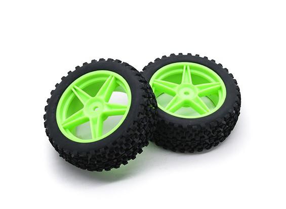 HobbyKing 1/10小块状的5辐条(绿色)车轮/轮胎12毫米六角(2件/袋)