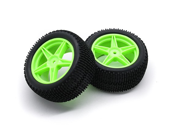 HobbyKing 1/10壁虎下目5辐式后(绿色)车轮/轮胎12毫米六角(2件/袋)