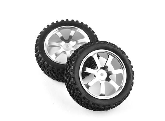 HobbyKing 1/10铝合金7辐阵线(银)轮/大座轮胎12毫米十六进制(2件/袋)