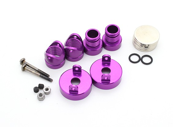 看不见的铝制车身安装帖子(2个)紫