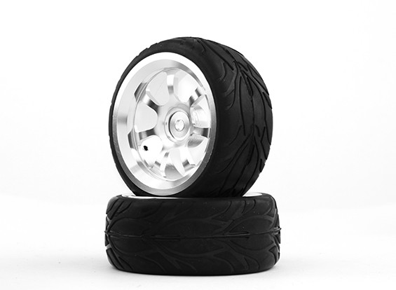 HobbyKing 1/10铝合金7辐12毫米六角轮(银)/消防轮胎26毫米(2件/袋)