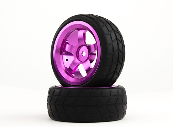 HobbyKing 1/10铝合金5辐12毫米六角轮(紫色)/ VTC轮胎26毫米(2件/袋)