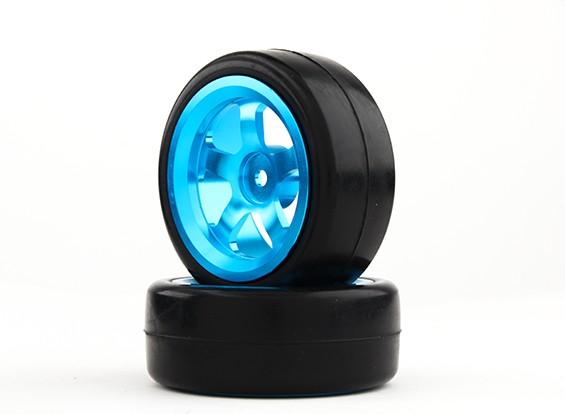 HobbyKing 1/10铝合金5辐12毫米六角轮(蓝色)/油滑的轮胎26毫米(2件/袋)