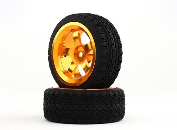 HobbyKing 1/10铝合金5辐12毫米六角轮(金)/ W轮胎26毫米(2件/袋)