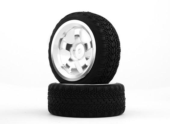 HobbyKing 1/10铝合金5辐12毫米六角轮(银)/ W轮胎26毫米(2件/袋)