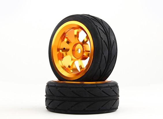 HobbyKing 1/10铝合金7辐12毫米六角轮(金)/ VV轮胎26毫米(2件/袋)