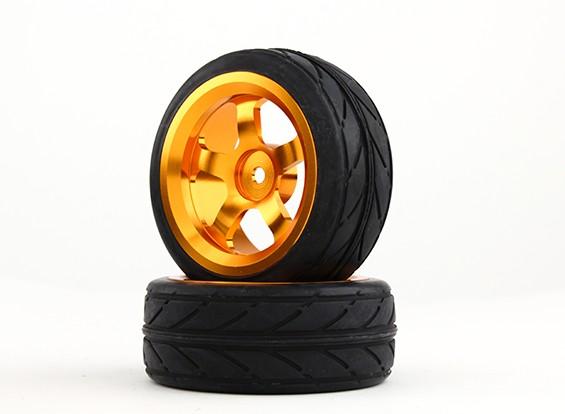HobbyKing 1/10铝合金5辐12毫米六角轮(金)/ VV轮胎26毫米(2件/袋)