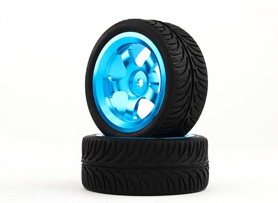 HobbyKing 1/10铝合金5辐12毫米六角轮(蓝色)/ YY轮胎26毫米(2件/袋)