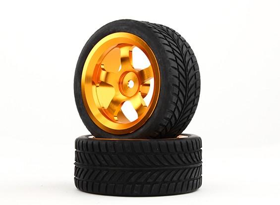 HobbyKing 1/10铝合金5辐12毫米六角轮(金)/ IVI轮胎26毫米(2件/袋)