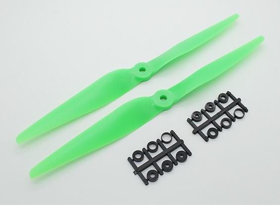 Hobbyking™薄E-道具螺旋桨10x5绿色(CW)(2个)