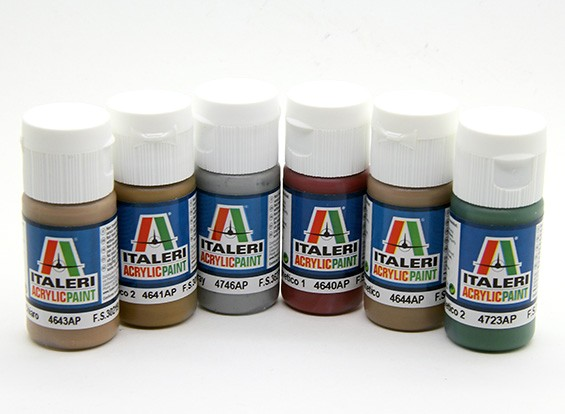 Italeri丙烯酸涂料套装(平) - 二战核桃航空工业Aerei(6PC)