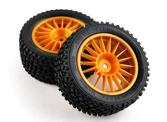锤RZ-4 1/10拉力赛车 - 30毫米完成后轮胎套装 - 金(2个)