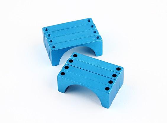 蓝色阳极氧化双面CNC铝合金管夹直径25mm