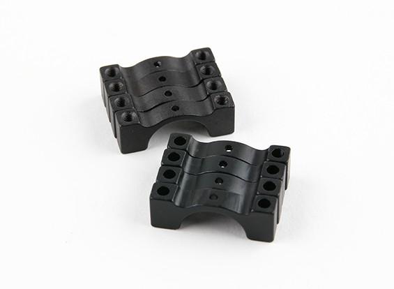 黑色阳极氧化双面CNC铝合金管夹直径14mm