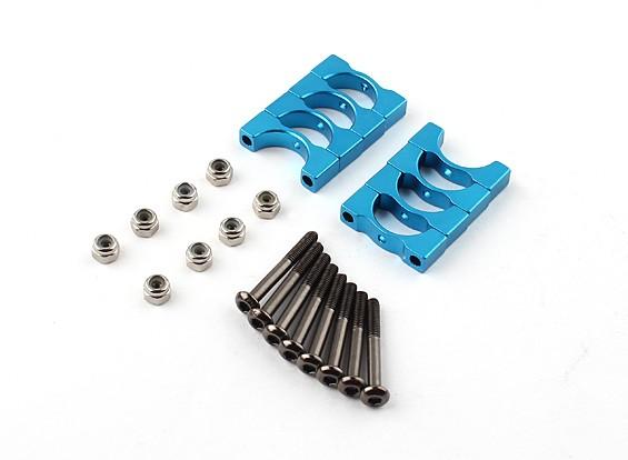 蓝色阳极氧化CNC超级轻合金管夹直径12mm(4设置)