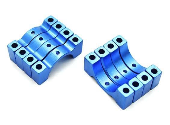 蓝色阳极氧化数控半圆合金管夹(包括螺母和螺栓)15毫米