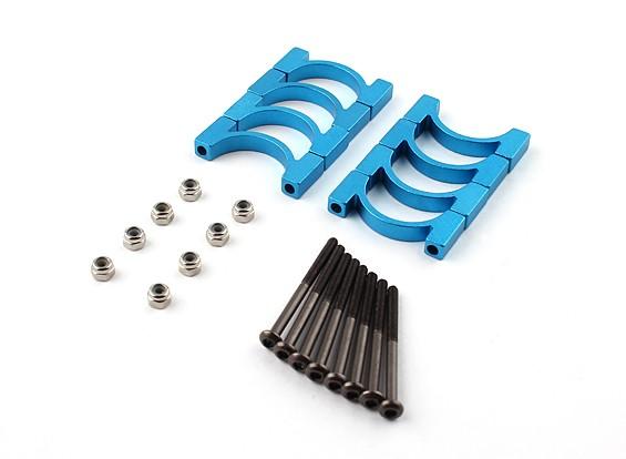 蓝色阳极氧化铝合金CNC管夹直径20mm(4设置)