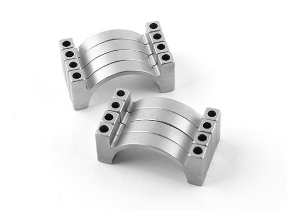 银色阳极双面CNC铝合金管夹直径25mm