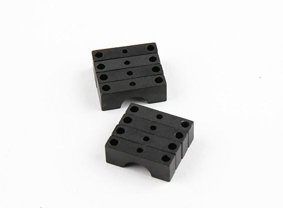 黑色阳极氧化双面CNC铝合金管夹直径8mm
