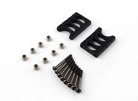 黑色阳极氧化双面CNC铝合金管夹10mm外径