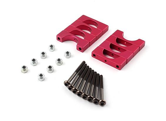 红色阳极双面CNC铝合金管夹直径14mm