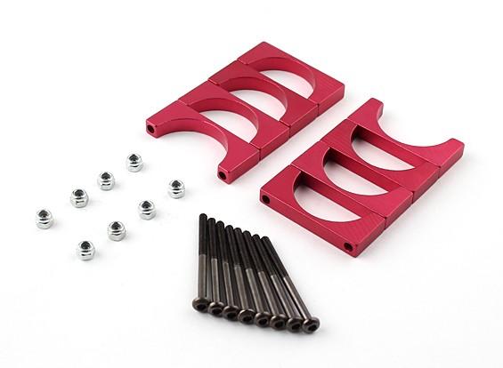 红色阳极双面CNC铝合金管夹直径25mm