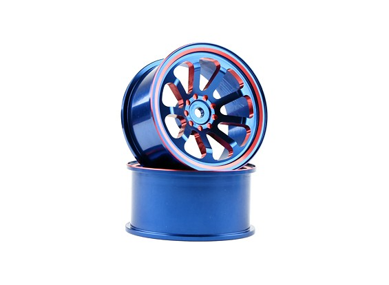 HobbyKing 1/10铝9辐蓝/红漂移轮(2个)