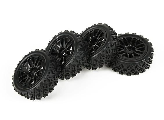 HobbyKing 1/10双7辐轮毂黑色W /预胶拉力轮胎套装(4节)
