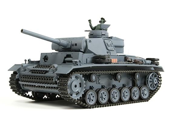 三号坦克Ausf.L(灰色)遥控坦克RTR瓦特/气枪和Tx(欧盟插头)(EU仓库)